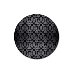 Scales2 Black Marble & Gray Brushed Metal Rubber Coaster (round)