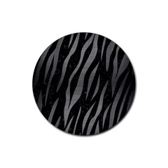 Skin3 Black Marble & Gray Brushed Metal (r) Rubber Coaster (round)