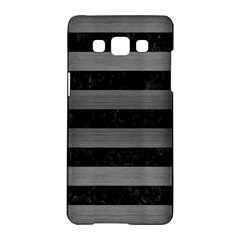 Stripes2 Black Marble & Gray Brushed Metal Samsung Galaxy A5 Hardshell Case