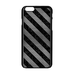 Stripes3 Black Marble & Gray Brushed Metal Apple Iphone 6/6s Black Enamel Case