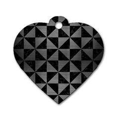 Triangle1 Black Marble & Gray Brushed Metal Dog Tag Heart (one Side)