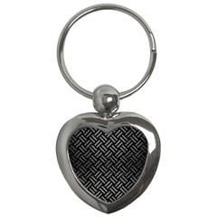 Woven2 Black Marble & Gray Brushed Metal (r) Key Chains (heart)