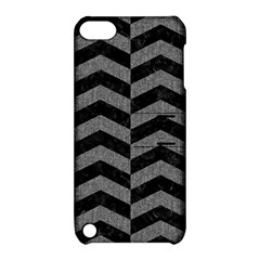 Chevron2 Black Marble & Gray Denim Apple Ipod Touch 5 Hardshell Case With Stand