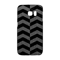 Chevron2 Black Marble & Gray Denim Galaxy S6 Edge