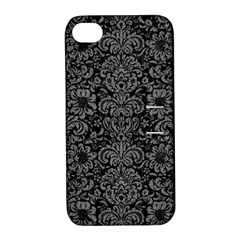 Damask2 Black Marble & Gray Denim (r) Apple Iphone 4/4s Hardshell Case With Stand