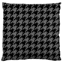 Houndstooth1 Black Marble & Gray Denim Large Flano Cushion Case (one Side)