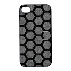 Hexagon2 Black Marble & Gray Denim Apple Iphone 4/4s Hardshell Case With Stand