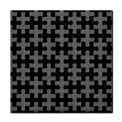 Puzzle1 Black Marble & Gray Denim Face Towel