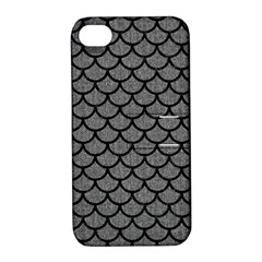 Scales1 Black Marble & Gray Denim Apple Iphone 4/4s Hardshell Case With Stand