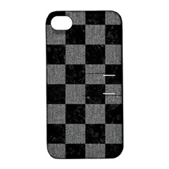 Square1 Black Marble & Gray Denim Apple Iphone 4/4s Hardshell Case With Stand
