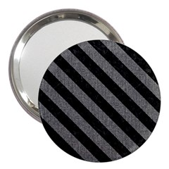 Stripes3 Black Marble & Gray Denim 3  Handbag Mirrors