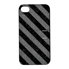 Stripes3 Black Marble & Gray Denim Apple Iphone 4/4s Hardshell Case With Stand