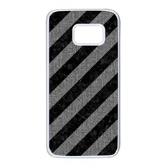 Stripes3 Black Marble & Gray Denim (r) Samsung Galaxy S7 White Seamless Case