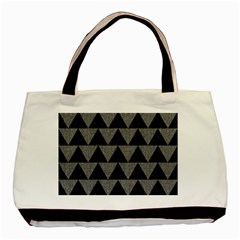 Triangle2 Black Marble & Gray Denim Basic Tote Bag (two Sides)