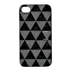 Triangle3 Black Marble & Gray Denim Apple Iphone 4/4s Hardshell Case With Stand