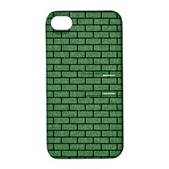 Brick1 Black Marble & Green Denim Apple Iphone 4/4s Hardshell Case With Stand