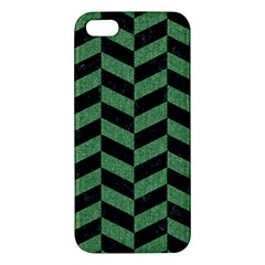 Chevron1 Black Marble & Green Denim Iphone 5s/ Se Premium Hardshell Case