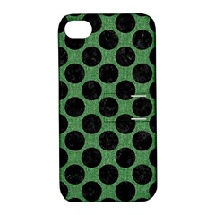 Circles2 Black Marble & Green Denim Apple Iphone 4/4s Hardshell Case With Stand