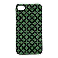 Circles3 Black Marble & Green Denim Apple Iphone 4/4s Hardshell Case With Stand
