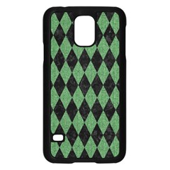 Diamond1 Black Marble & Green Denim Samsung Galaxy S5 Case (black)