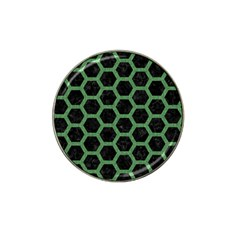 Hexagon2 Black Marble & Green Denim (r) Hat Clip Ball Marker (10 Pack)