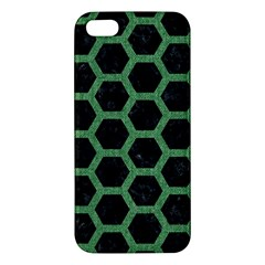 Hexagon2 Black Marble & Green Denim (r) Iphone 5s/ Se Premium Hardshell Case