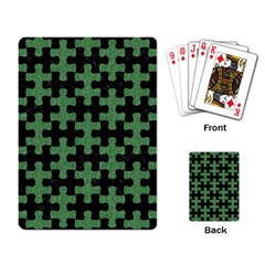 Puzzle1 Black Marble & Green Denim Playing Card