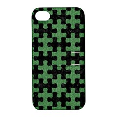 Puzzle1 Black Marble & Green Denim Apple Iphone 4/4s Hardshell Case With Stand