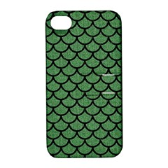 Scales1 Black Marble & Green Denim Apple Iphone 4/4s Hardshell Case With Stand