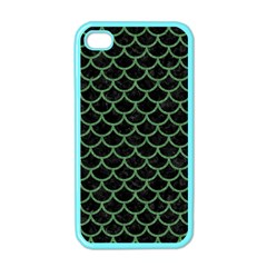 Scales1 Black Marble & Green Denim (r) Apple Iphone 4 Case (color)