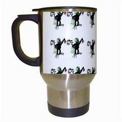 Floral Monkey With Hairstyle Travel Mugs (white)
