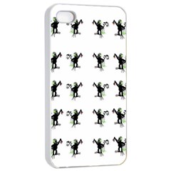 Floral Monkey With Hairstyle Apple Iphone 4/4s Seamless Case (white)