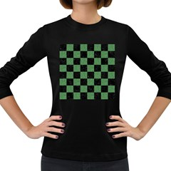 Square1 Black Marble & Green Denim Women s Long Sleeve Dark T Shirts