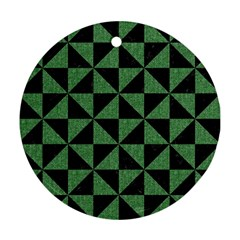 Triangle1 Black Marble & Green Denim Round Ornament (two Sides)