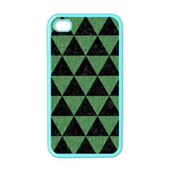 Triangle3 Black Marble & Green Denim Apple Iphone 4 Case (color)