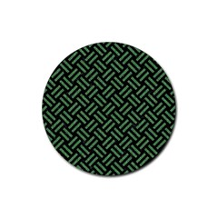 Woven2 Black Marble & Green Denim (r) Rubber Coaster (round)