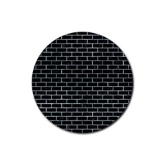 Brick1 Black Marble & Ice Crystals (r) Rubber Coaster (round)