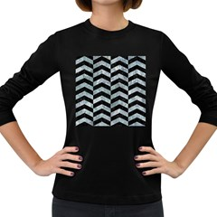 Chevron2 Black Marble & Ice Crystals Women s Long Sleeve Dark T Shirts