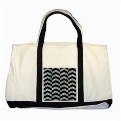 Chevron2 Black Marble & Ice Crystals Two Tone Tote Bag