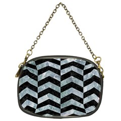 Chevron2 Black Marble & Ice Crystals Chain Purses (one Side)