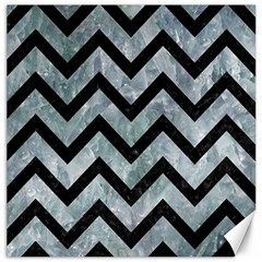 Chevron9 Black Marble & Ice Crystals Canvas 12  X 12
