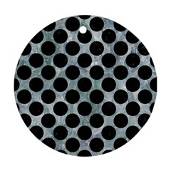 Circles2 Black Marble & Ice Crystals Ornament (round)