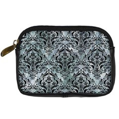 Damask1 Black Marble & Ice Crystals Digital Camera Cases