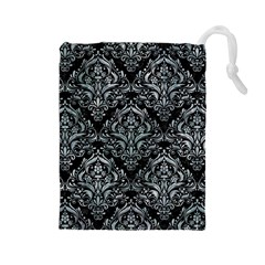 Damask1 Black Marble & Ice Crystals (r) Drawstring Pouches (large)