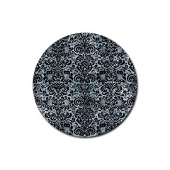 Damask2 Black Marble & Ice Crystals Rubber Coaster (round)