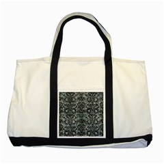 Damask2 Black Marble & Ice Crystals Two Tone Tote Bag
