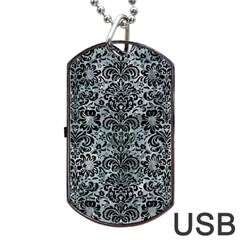 Damask2 Black Marble & Ice Crystals Dog Tag Usb Flash (two Sides)