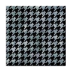 Houndstooth1 Black Marble & Ice Crystals Face Towel
