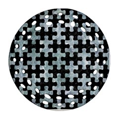 Puzzle1 Black Marble & Ice Crystals Ornament (round Filigree)