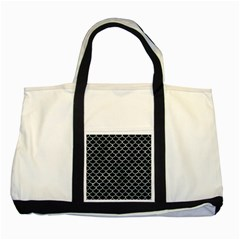 Scales1 Black Marble & Ice Crystals (r) Two Tone Tote Bag